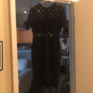A black lace dress